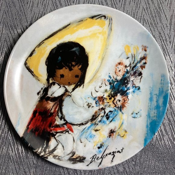 De Grazia Plate Little Flower Vendor 1994 Limited